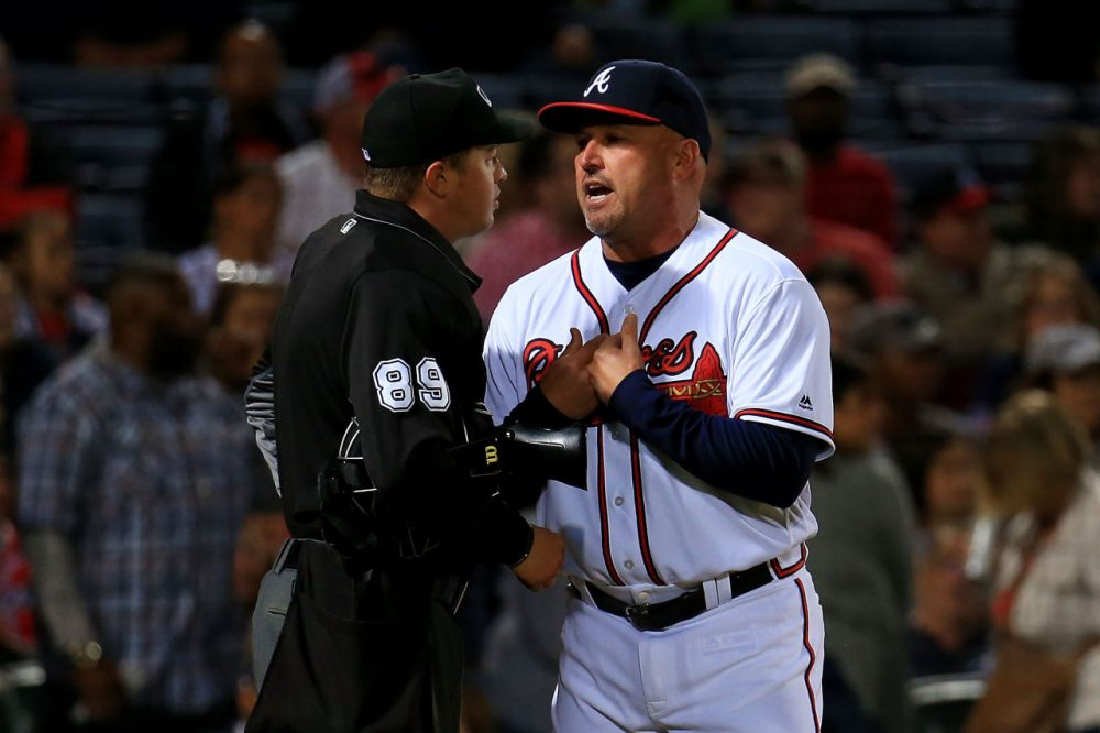 ATLANTA, GA - MAY 06: Fredi Gonzalez #33 of the Atlanta Braves argues with an umpire in the fourth inning against the Arizona Diamondbacks at Turner Field on May 6, 2016 in Atlanta, Georgia. (Photo by Daniel Shirey/Getty Images)
