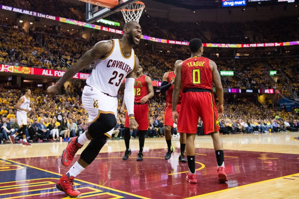 CLEVELAND, OH - MAY 4: LeBron James #23 of the Cleveland Cavaliers reacts after missing a shot during the first half of the NBA Eastern Conference semifinals against the Atlanta Hawks at Quicken Loans Arena on May 4, 2016 in Cleveland, Ohio. NOTE TO USER: User expressly acknowledges and agrees that, by downloading and or using this photograph, User is consenting to the terms and conditions of the Getty Images License Agreement. (Photo by Jason Miller/Getty Images)