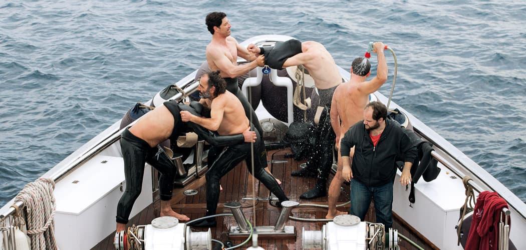 """Vangelis Mourikis, Yorgos Pirpassopoulos, Yiorgos Kendros, Sakis Rouvas, Panos Koronis and Efthymis Papadimitriou in """"Chevalier."""" (Courtesy Strand Releasing)"""
