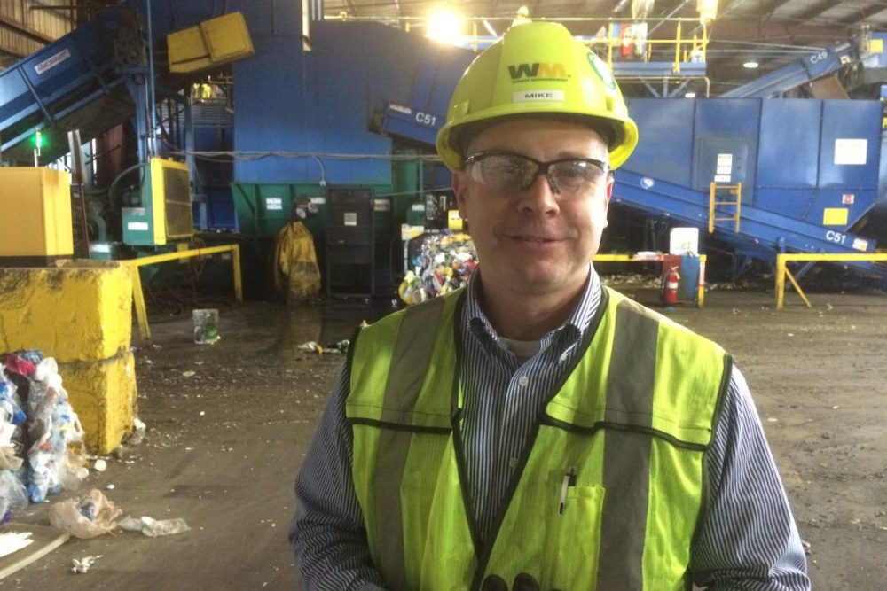 Mike Lunow is Waste Management's recycling director for Texas and Oklahoma. (Florian Martin/Houston Public Media)