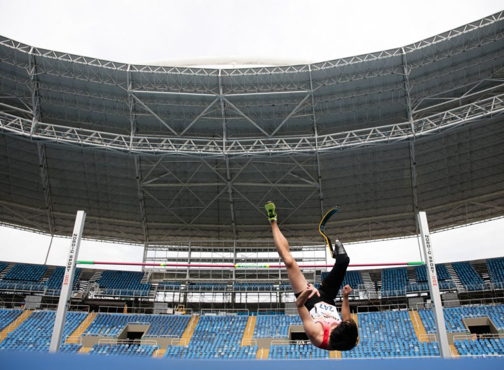 Toru Suzuki of Japan #247 competes the Men's High Jump - T44 - Final during the Paralympics Athletics Grand Prix - Aquece Rio Test Event for the Rio 2016 Olympics - Day 4 at Olympic Stadium on May 21, 2016 in Rio de Janeiro, Brazil. (Buda Mendes/Getty Images)