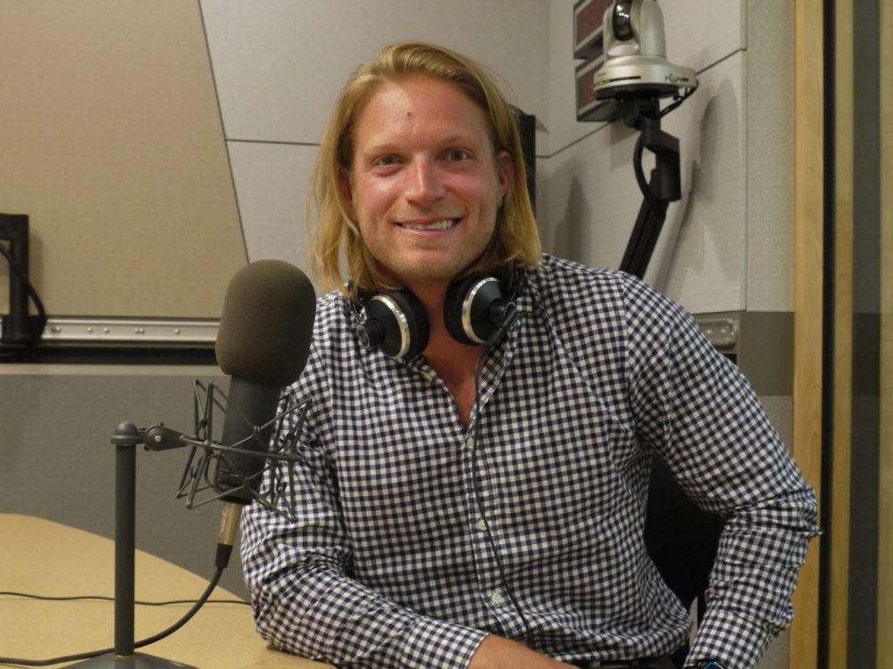 Author Rob Cocuzzo in the WBUR offices. (Photo/Courtesy WBUR)