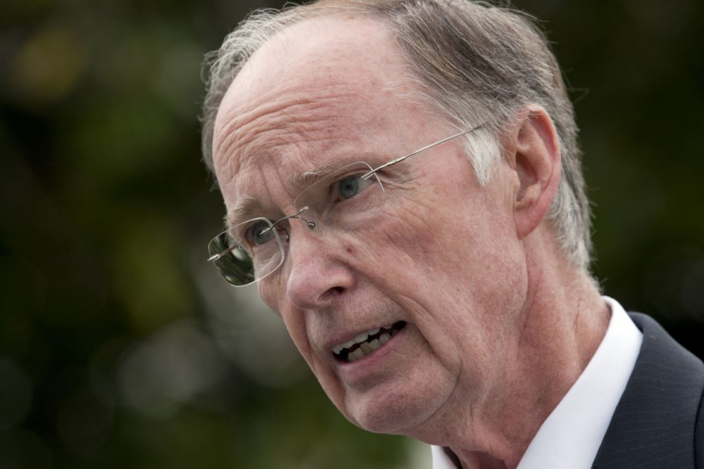 Gov. Robert Bentley talks with reporters outside the Capitol in Montgomery, Ala.,  Wednesday, Sept. 28, 2011. (Dave Martin/AP)