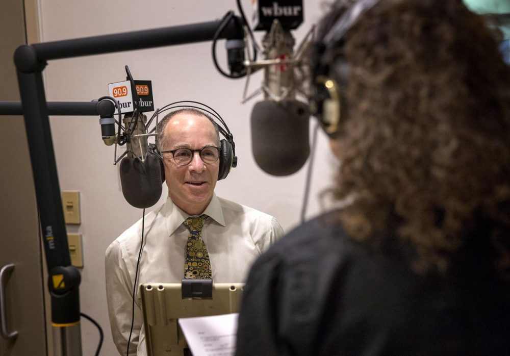 Co-hosts Dr. Eddie Phillips and CommonHealth's Carey Goldberg record The Magic Pill in a WBUR studio. Photo: Robin Lubbock)