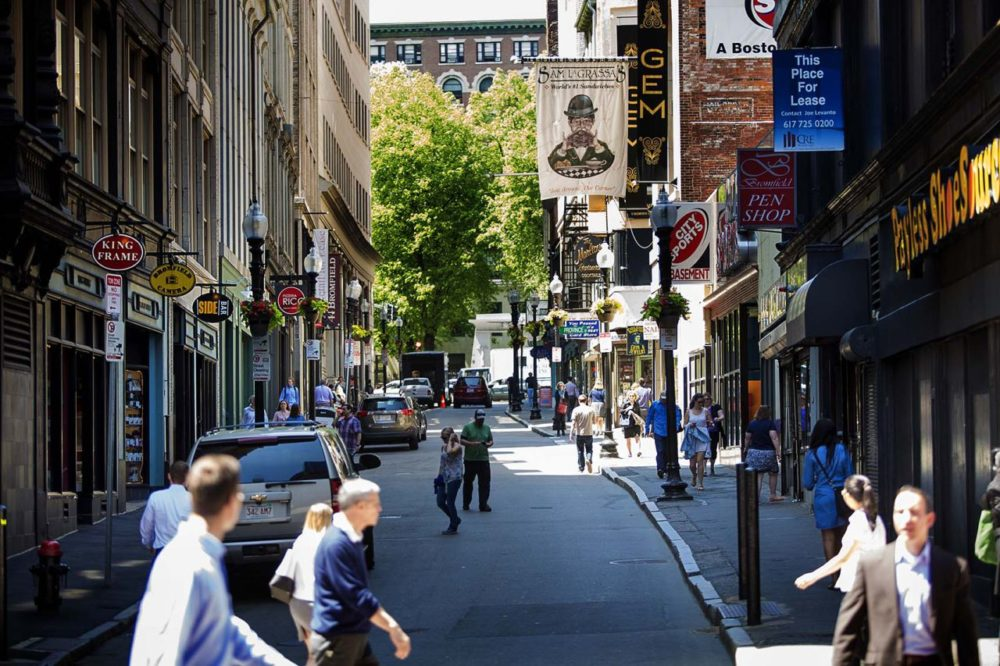 A bustling Bromfield Street in the afternoon. (Jesse Costa/WBUR)