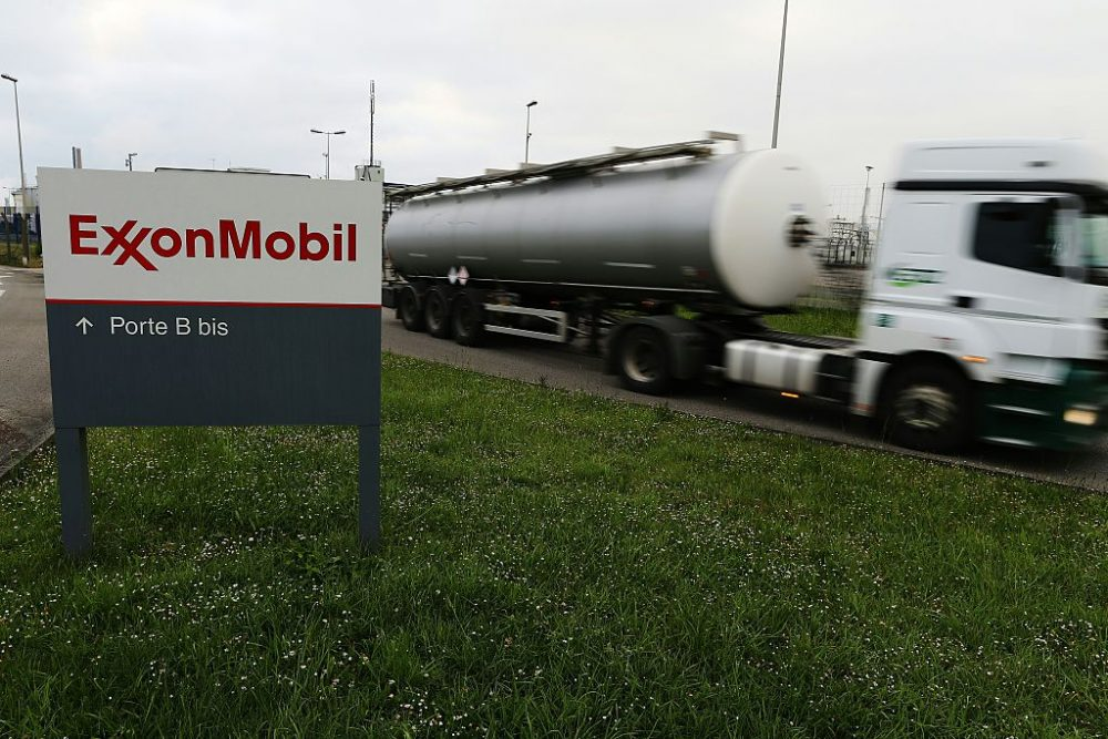 A petrol tanker leaves the ExxonMobil oil refinery in Notre-Dame-de-Gravenchon, northwestern France, on May 24, 2016, unionists had called for a strike following blockades of several oil refineries and fuel depots in France by protesters opposed to government labour reforms. The morning teams of the ExxonMobil oil refinery in Notre-Dame-de-Gravenchon, France's second largest refinery, seemed to ignore a strike called by the Force Ouvriere (FO) and General Confederation of Labour (CGT) French workers' unions on May 24. (CHARLY TRIBALLEAU/AFP/Getty Images)