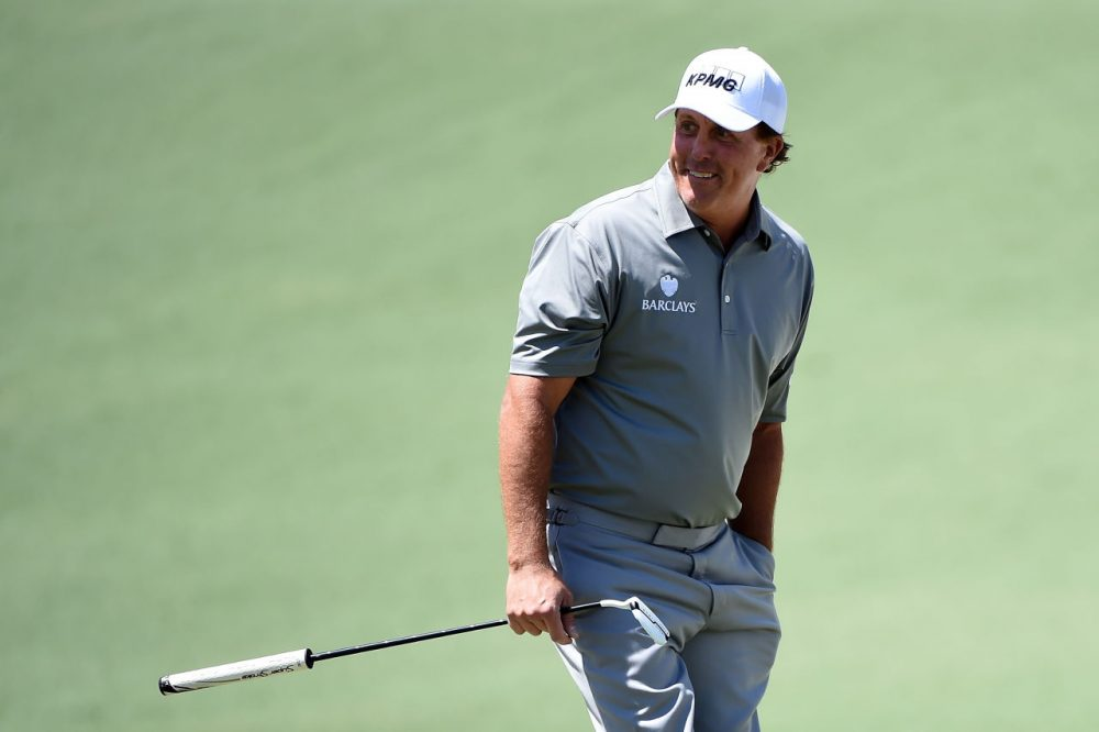 AUGUSTA, GEORGIA - APRIL 08:  Phil Mickelson of the United States on the second green during the second round of the 2016 Masters Tournament at Augusta National Golf Club on April 8, 2016 in Augusta, Georgia.  (Photo by Harry How/Getty Images)