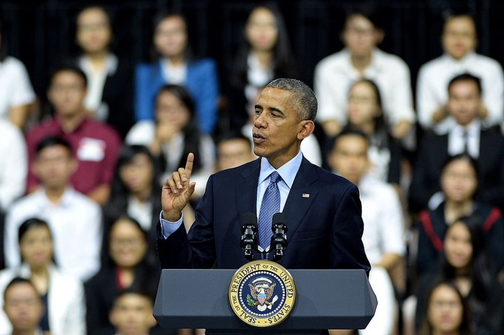 US President Barack Obama speaks at a Young Southeast Asian Leaders Initiative town hall event in Ho Chi Minh City on May 25, 2016.   Obama fielded questions on May 25 on everything from rap and weed smoking to leadership and his good looks at a lively town hall-style meeting with young Vietnamese, who say the US leader is a far cry from their staid Communist rulers. (CHRISTOPHE ARCHAMBAULT/AFP/Getty Images)