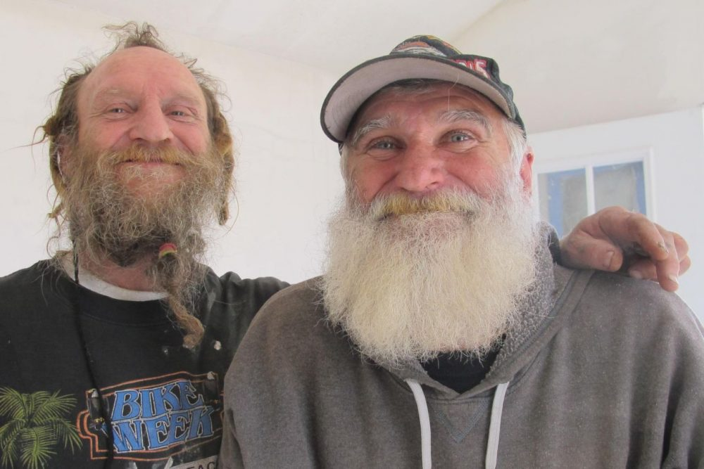 The homeless Army veteran who inspired the Veterans Community Project, White Hawk (right), with his friend Jerry. (Frank Morris/KCUR)