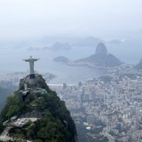 Christ the Redeemer statue is shown in this aerial view of Rio de Janeiro, where the 2016 Olympic Games will be held this summer. (David J. Phillip/AP)