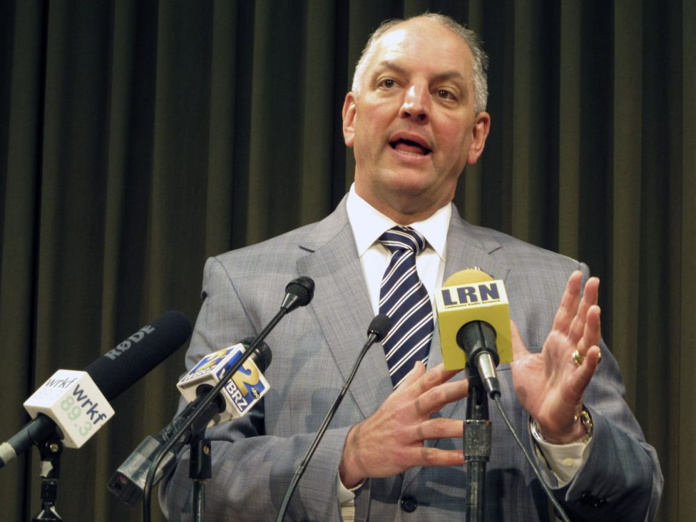 Gov. John Bel Edwards talks about the state's budget and his plans to call a special session for June to try to raise revenue to stave off cuts, on Thursday, May 5, 2016, in Baton Rouge, La. (Melinda Deslatte/AP)