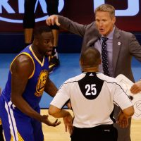 Everyone, now including Bill Littlefield, Craig Calcaterra, and David Steele, has been debating whether or not Draymond Green should have been suspended for kicking OKC's Steven Adams in the You-Know-Where. (Photo by J Pat Carter/Getty Images)