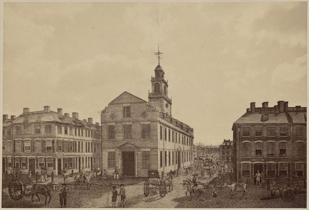 Boston's Old State House in 1793. (Boston Public Library/Flickr)