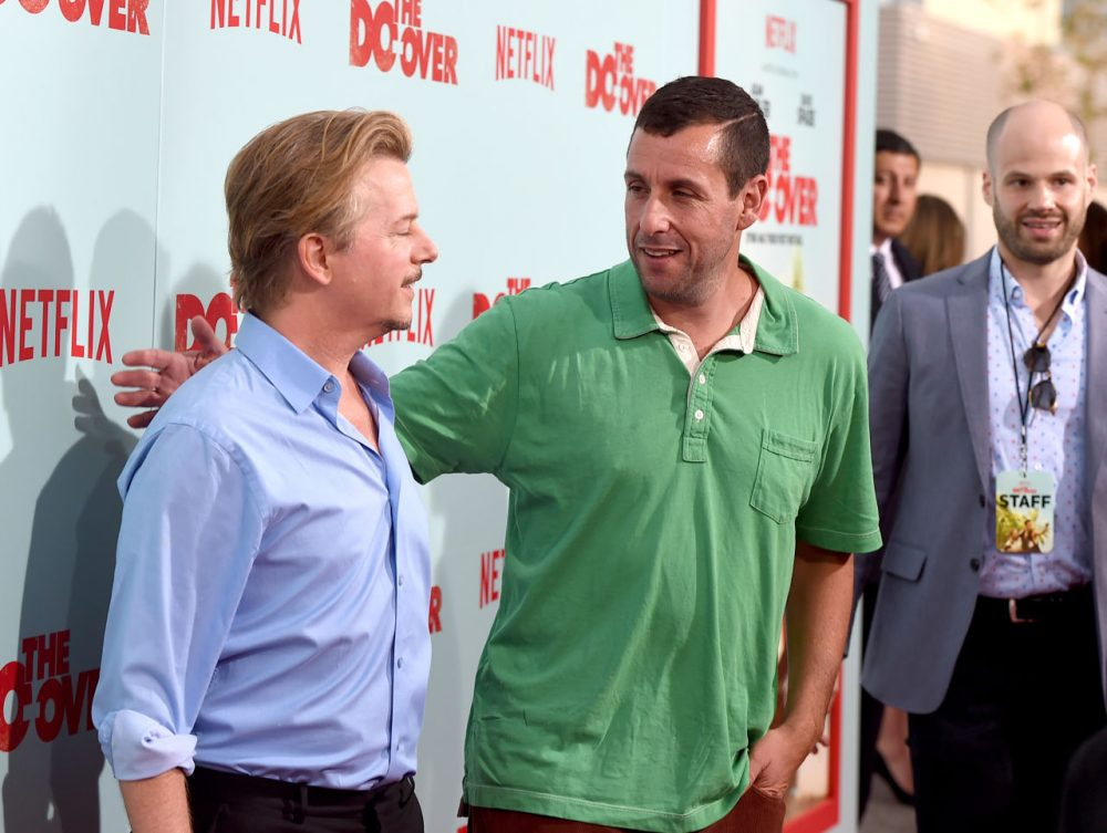 "Comedians David Spade and Adam Sandler attend the premiere of Netflix's ""The Do Over"" at Regal LA Live Stadium 14 on May 16, 2016 in Los Angeles, California.  (Kevin Winter/Getty Images)"