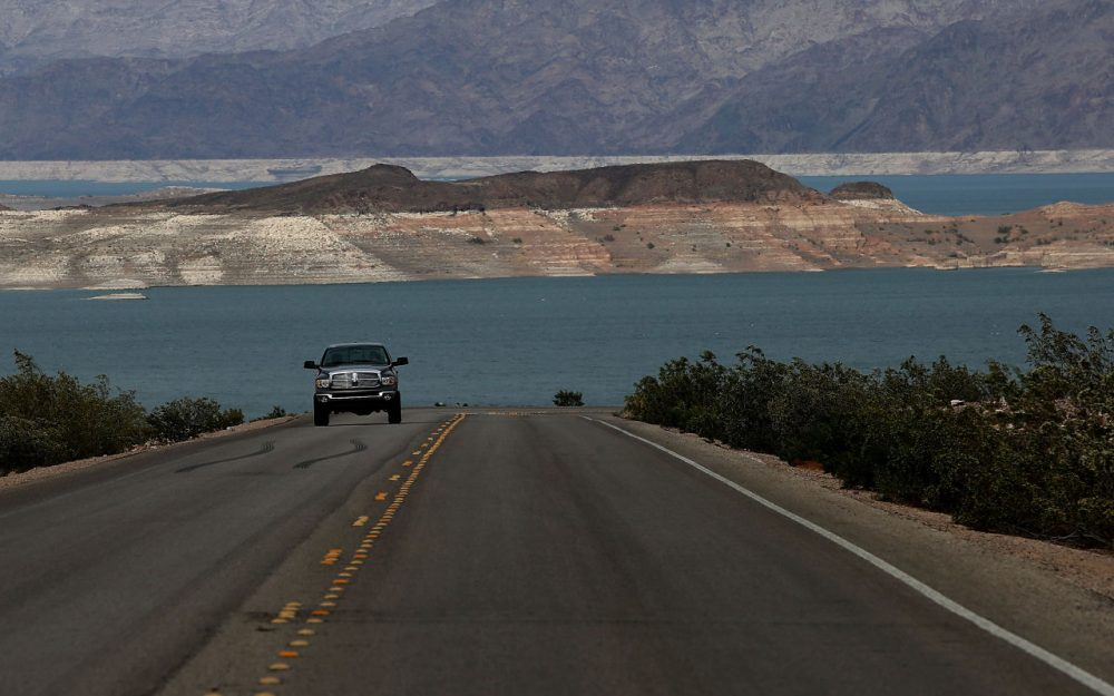 Low water levels are visible at Lake Mead on May 13, 2015 in Lake Mead National Recreation Area, Nevada. As severe drought grips parts of the Western United States, Lake Mead, which was once the largest reservoir in the nation, has seen its surface elevation drop below 1,080 feet above sea level, its lowest level since the construction of the Hoover Dam in the 1930s.  (Justin Sullivan/Getty Images)