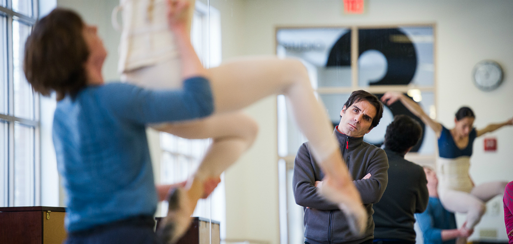 Yury Yanowsky in rehearsal with Boston Ballet. (Courtesy of Christopher Duggan/Boston Ballet)