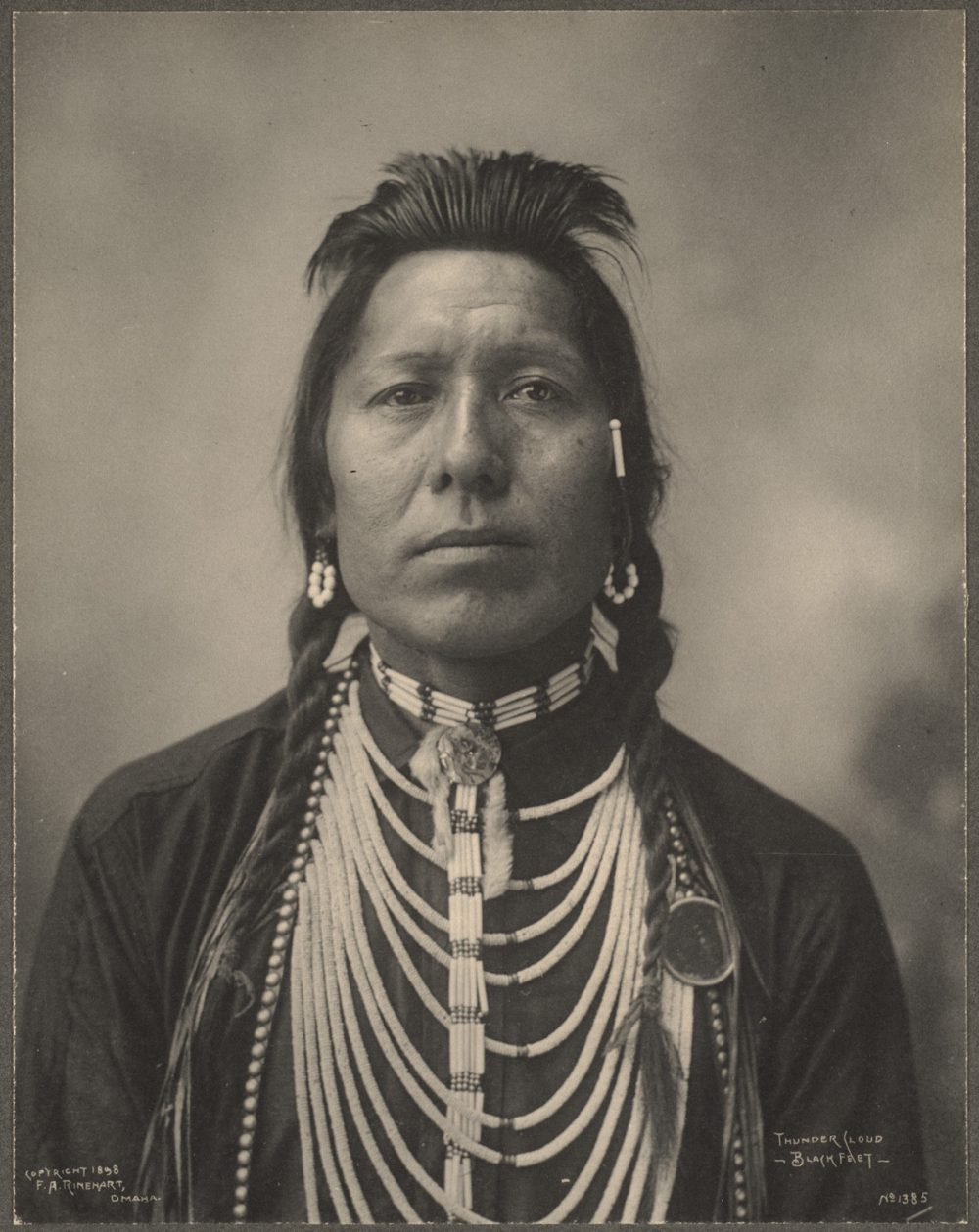 An archival photo from 1898 of Thunder Cloud, Blackfeet, an Algonquian Native American. (Boston Public Library/Flickr)