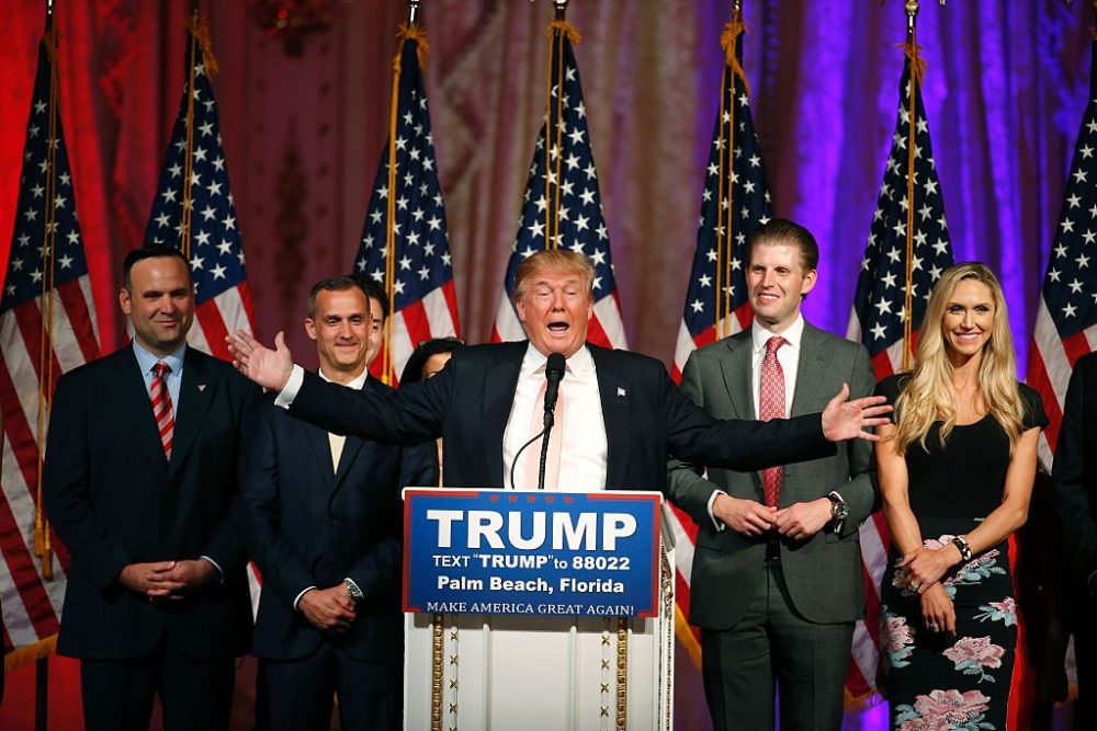 On March 15, 2016, Republican presidential candidate Donald Trump addressed the media following victory in the Florida state primary  in West Palm Beach, Florida.  The win in Florida for Trump sent rival Marco Rubio, the US senator from the Sunshine State, crashing out of the campaign. (Rhona Wise/AFP/Getty Images)