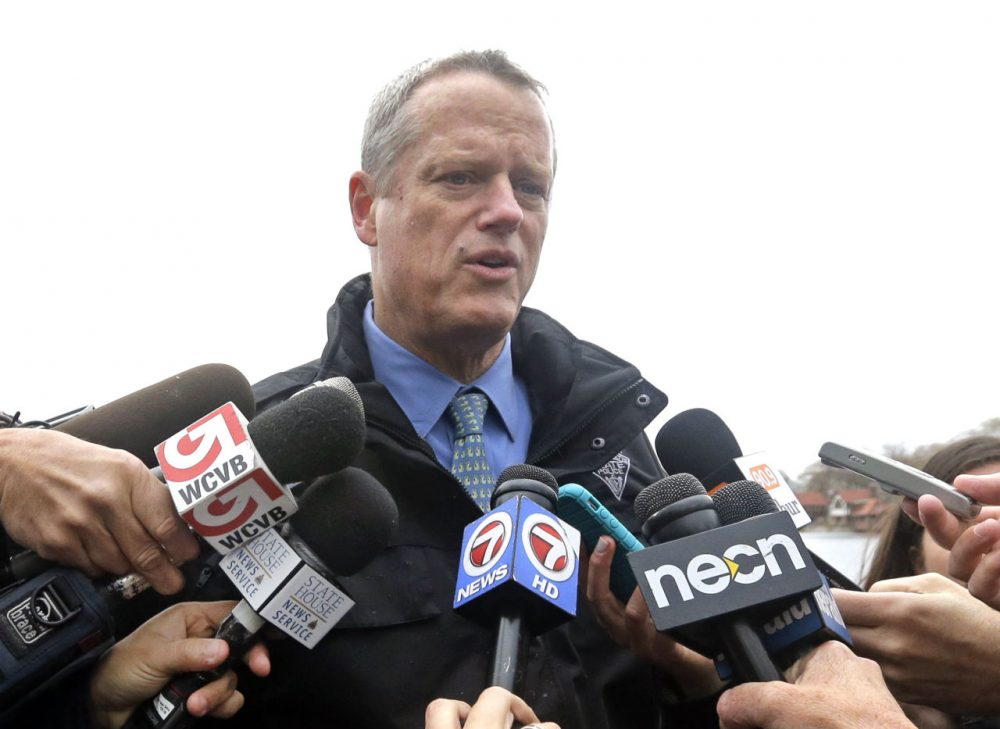 Gov. Charlie Baker speaks to members of the media earlier this month in Boston. (Elise Amendola/AP)