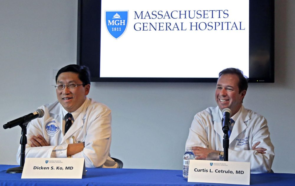 Surgical team members Dr. Dicken Ko, left, and Dr. Curtis Cetrulo address the media during a news conference at Massachusetts General Hospital, Monday. (Elise Amendola/AP)