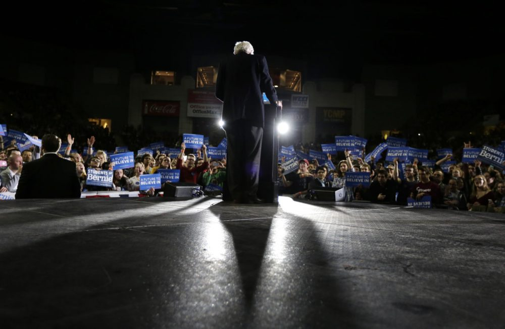 Democratic presidential candidate Bernie Sanders addressees a campaign rally on Feb. 22 in Amherst, ahead of the Massachusetts primary on March 1. A group of economists at UMass Amherst have been providing academic fodder for Sanders' proposals. (Steven Senne/AP)