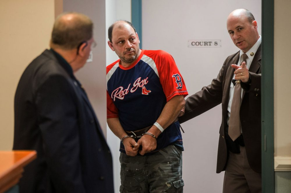 Richard Simone of Worcester, Massachusetts, is pictured during an arraignment last week in Nashua, New Hampshire. A Massachusetts judge ordered him held without bail Wednesday. (Aram Boghosian/The Boston Globe via AP)