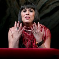 """Eve Ensler in the world premiere of her """"In the Body of the World"""" at the ART. (Courtesy Evgenia Eliseeva/ American Repertory Theater)"""