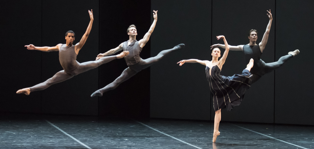 "Lawrence Rines, Patrick Yocum, Dusty Button and Bo Busby of Boston Ballet in José Martinez's ""Resonance.""(Courtesy of Gene Schiavone/Boston Ballet)"