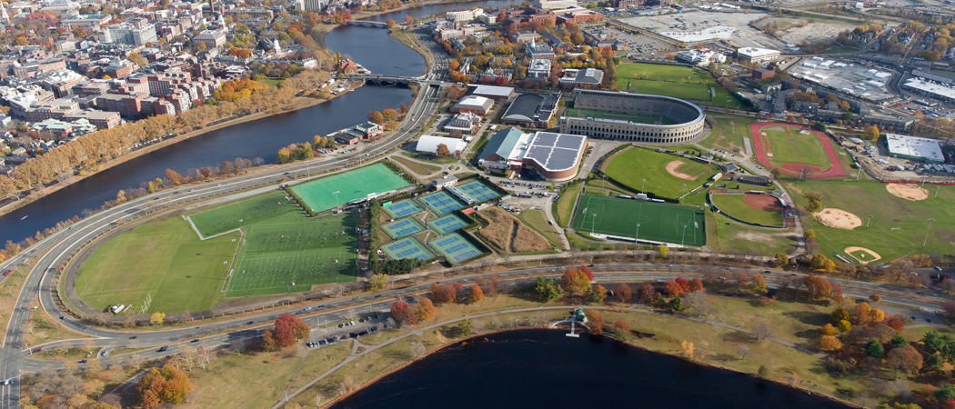 An aerial view of Harvard University's athletic complex in Allston. The complex, at 65 North Harvard Street, will be the home of the Boston Calling music festival beginning in May 2017. (Greg M. Cooper/Harvard University)