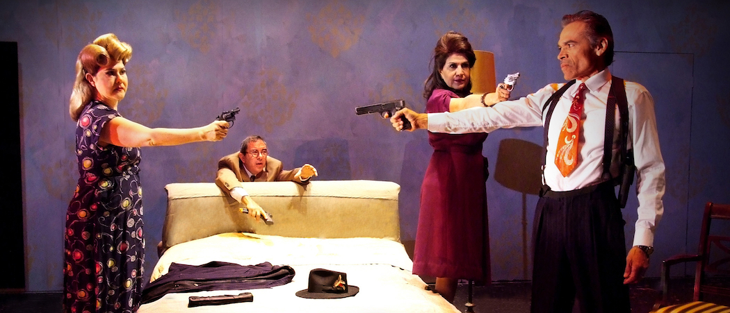 """From left to right, Lucy Rodriguez (who is not in the Boston cast), Geoffrey Rivas, Evelina Fernández and Sal Lopez  in """"Premeditation."""" (Courtesy Ed Krieger/ArtsEmerson)"""