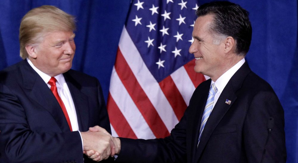 Republican party leaders disavow Donald Trump as their party's nominee. The only problem? They created him. It's time own up to what they've wrought and change course. Pictured: Donald Trump greets Republican presidential candidate, former Massachusetts Gov. Mitt Romney, after announcing his endorsement of Romney during a news conference, Thursday, Feb. 2, 2012, in Las Vegas. (Julie Jacobson/AP)