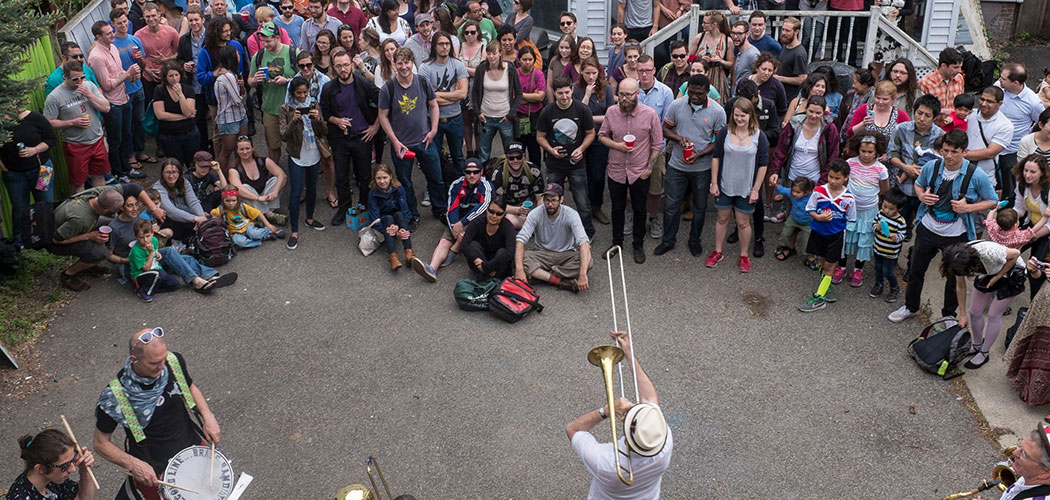 School of Honk performs at the 2015 Somerville PorchFest. (Courtesy School of Honk)