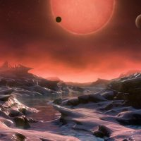 An artist's impression of one of the three planets discovered using the TRAPPIST telescope. (ESO/M. Kornmesser via AP)