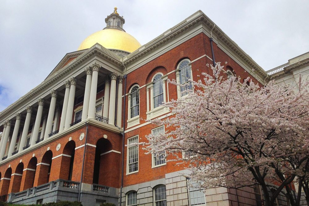 The Massachusetts State House is seen on May 1, 2015. (Jesse Costa/WBUR)