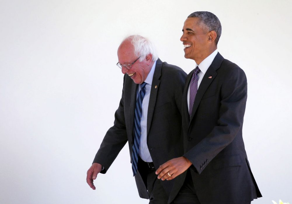 Democratic presidential candidate Sen. Bernie Sanders (D-VT) (L) walks with President Barack Obama (R) through the Colonnade as he arrives at the White House for an Oval Office meeting June 9, 2016 in Washington, DC. Sanders met with President Obama after Hillary Clinton has clinched the Democratic nomination for president. (Alex Wong/Getty Images)