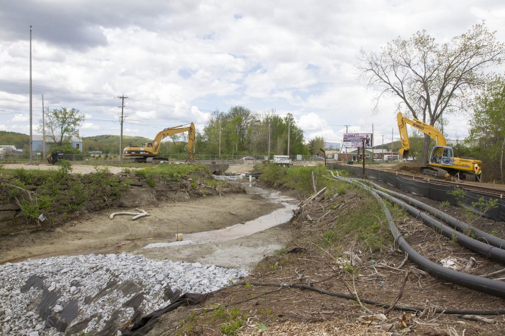 The Unkamet Brook, an area contaminated by General Electric's former Pittsfield plant is currently being restored. (Joe Difazio/WBUR)