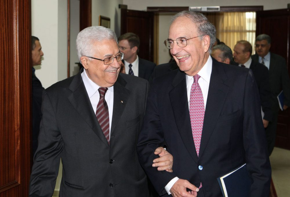 President Mahmoud Abbas meets with US Special Envoy to the Middle East George Mitchell on October 1, 2010 in West Bank, Ramallah. (Thaer Ganaim/PPO/Getty Images)