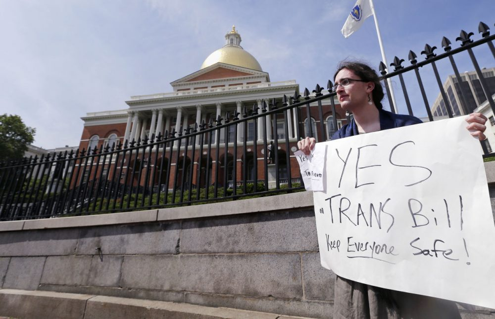 Asa Goodwillie, of Watertown, Mass., who is transgender, advocates for the passage of a transgender rights bill that passed in the Massachusetts House on Wednesday. (Charles Krupa/AP)