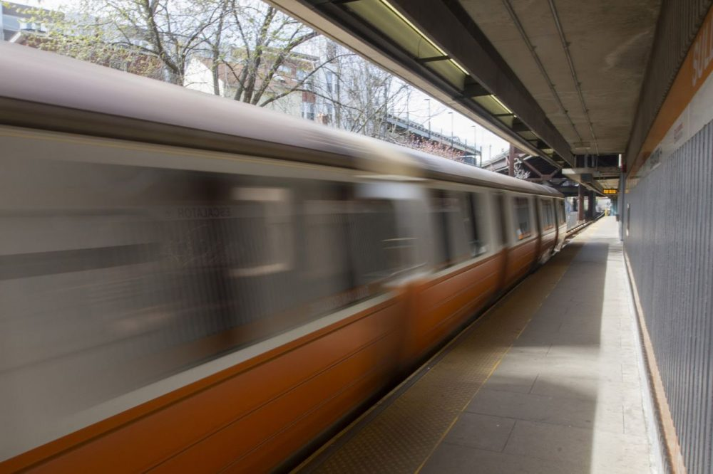 The Orange Line at Sullivan Square Station. (Joe Difazio for WBUR)