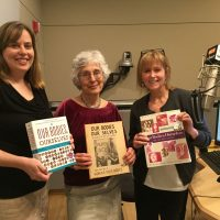 Our Bodies Ourselves executive director Julie Childers (left) and co-founder Judy Norsigian (middle) stand with Here & Now co-host Robin Young in the Here & Now studios. (Eileen Bolinsky/Here & Now)