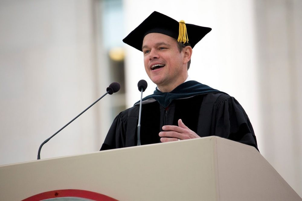 Matt Damon gives the commencement address at MIT on Friday. (Jesse Costa/WBUR)