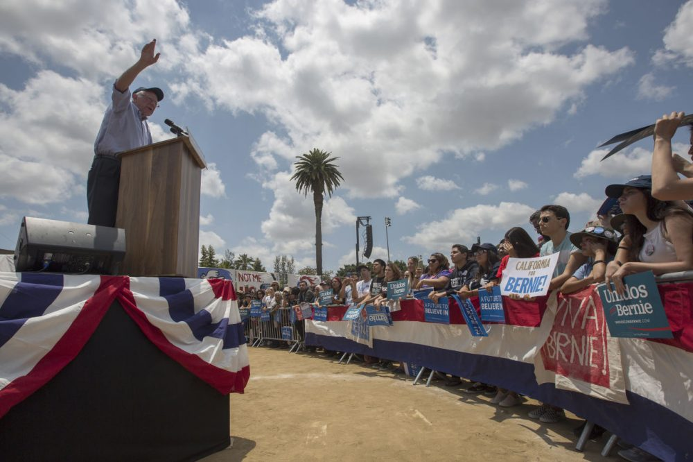 Democratic presidential candidate Sen. Bernie Sanders speaks at a campaign rally at Lincoln Park on May 23, 2016 in East Los Angeles, California. Sanders is campaigning ahead of the June 7 California primary. (David McNew/Getty Images)