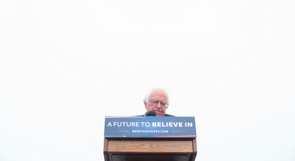 Now that Hillary Clinton has clinched the nomination, how do Bernie Sanders supporters stay true to his progressive agenda? In this photo, Sanders addresses supporters on Monday, June 6, 2016, in San Francisco. (Noah Berger/AP)