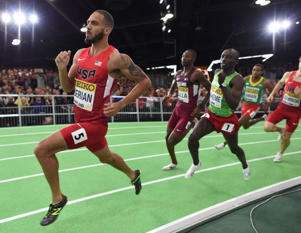 The USA's Boris Berian competes in the 800 meters at the IAAF World Indoor athletic championships in Portland, Oregon on March 19, 2016.  (Don Emmert/AFP/Getty Images)