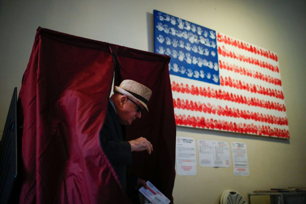 A man casts his ballot at polling station during New Jersey's primary elections on June 7, 2016 in Hoboken, New Jersey. (Eduardo Munoz Alvarez/AFP/Getty Images)