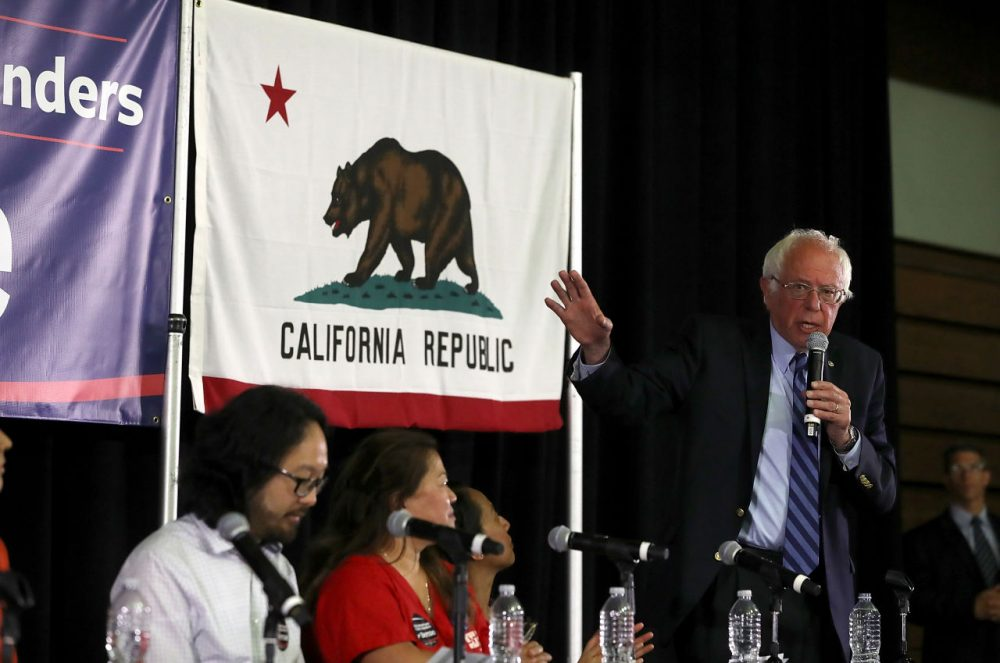 Democratic presidential candidate, U.S. Sen. Bernie Sanders (D-VT) speaks during a panel with Asian-Americans and Pacific Islanders at Cubberley Community Center on June 1, 2016 in Palo Alto, California. With less than a week to go before the California presidential primary, Sanders is campaigning in northern California.  (Justin Sullivan/Getty Images)