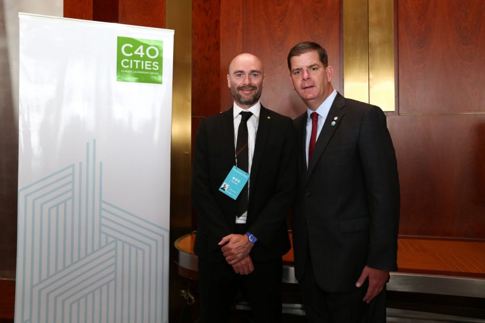 Boston Mayor Marty Walsh in Beijing with Mark Watts, executive director of the C40 Cities Climate Leadership Group. (Courtesy C40)