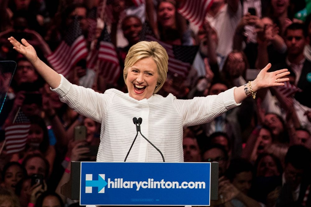Democratic presidential candidate Hillary Clinton arrives onstage during a primary night rally at the Duggal Greenhouse in the Brooklyn Navy Yard, June 7, 2016 in the Brooklyn borough of New York City. She will become the first woman in U.S. history to secure the presidential nomination of one of the country's two major political parties. (Drew Angerer/Getty Images)