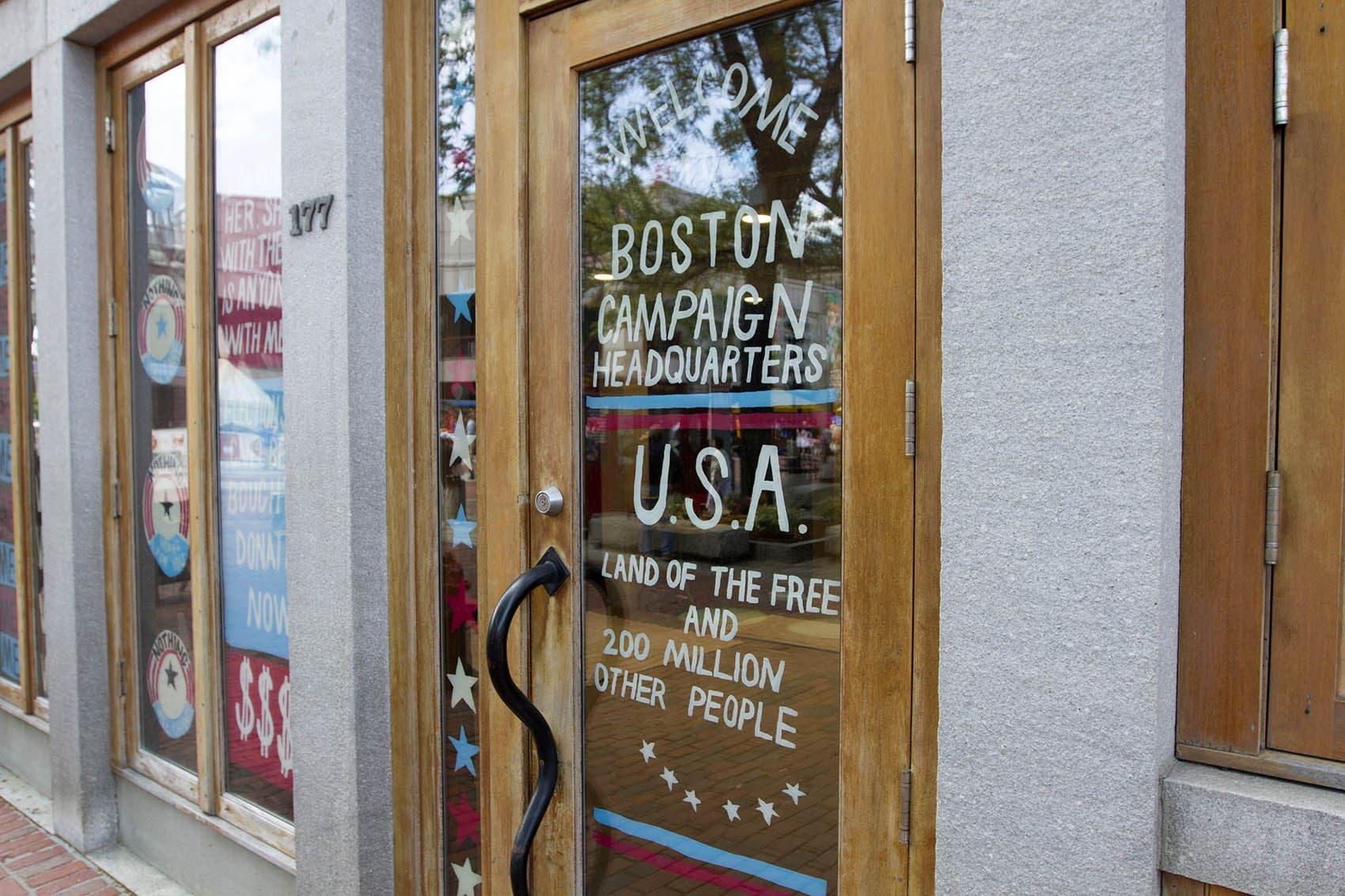 Artist Pat Falco's faux Boston Campaign Headquarters meant to poke fun at election season. (Joe Difazio for WBUR)