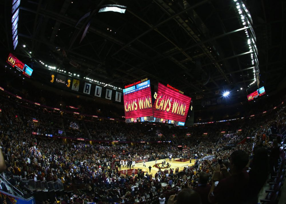 A general view after the Cleveland Cavaliers defeated the Golden State Warriors 120-90 in Game 3 of the 2016 NBA Finals at Quicken Loans Arena on June 8, 2016 in Cleveland, Ohio. (Ronald Martinez/Getty Images)